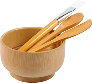 EXCEART DIY Facemask Mixing Tool Sets Bamboo Face Mixing Bowl Set Clay Mixing Set