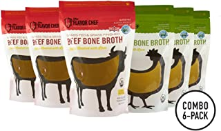 USDA Certified Organic Bone Broth (3 Chicken and 3 Beef) by The Flavor Chef | 6 Pack - 24 Ounces Per Pack | Frozen Fresh, High Gelatin and Collagen, Paleo Friendly