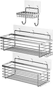 ODesign Shower Caddy Basket with Hooks Soap Dish Holder Shelf for Shampoo Conditioner Bathroom Storage Organizer SUS304 Stainless Steel Adhesive No Drilling - 3 Pack