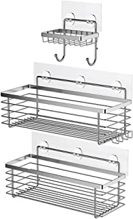 ODesign Shower Caddy Basket with Hooks Soap Dish Holder Shelf for Shampoo Conditioner Bathroom Kitchen Storage Organizer SUS304 Stainless Steel Adhesive No Drilling - 3 Pack