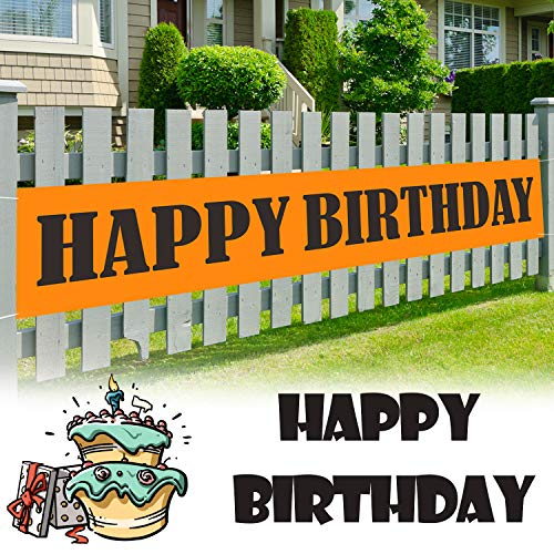 9.8 x 1.6 ft Large Sign Orange Happy Birthday Banner - Cheers to Year Party Decor Backdrop