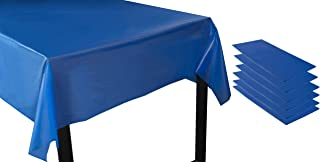 Juvale Royal Blue Plastic Tablecloth - 6-Pack 54 x 108-Inch Rectangle Disposable Graduation Table Cover, Fits up to 8-Foot Tables, Grad Party Decoration Supplies, 4.5 x 9 Feet