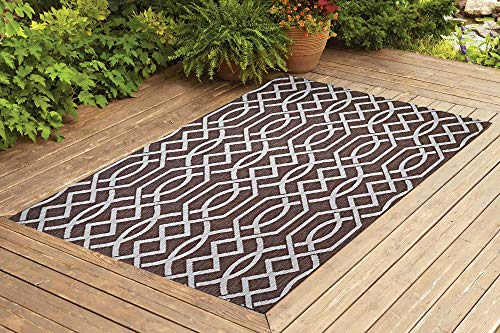 Benissimo Indoor Outdoor Rug Ribon Collection Non-Skid, Natural Sisal Woven and Jute Backing Area Rugs for Living Room, Bedroom, Kitchen, Entryway, Hallway, Patio, Farmhouse Decor 5x7, Dark Brown
