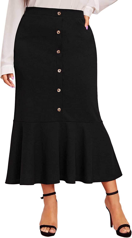Romwe Women's Plus Size Bodycon Zipper Side Button from Ruffle Hem Pencil Mermaid Skirts