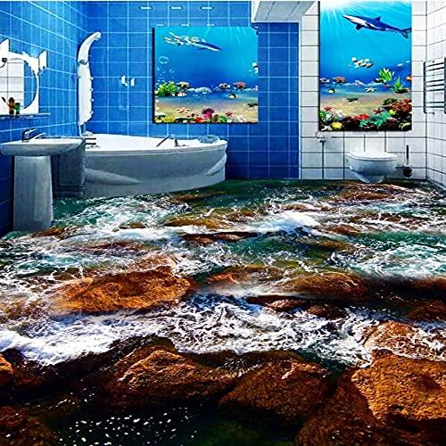 Baño De Arrecife De Agua De Mar Piso 3D Engrosado Antideslizante Restaurante Sala De Estar Cocina Estudio Suelo Mural-300X210Cm Pegatinas Estéreo Impermeables Para Suelo Personalizado Pegatinas Para