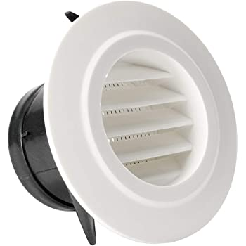 Vent Cover Round Soffit Vent Air Vent Louver Grille Cover Built In Fly Screen Mesh Hvac Ventilation 4 Inch White With Expanded Flange Amazon Com