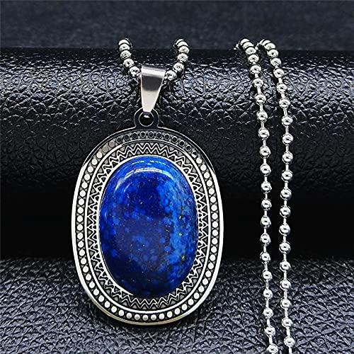 XIAOMAI Acero Inoxidable Piedra Natural lapislázuli Grandes Collares de Abalorios Bohemios Largos para Mujeres/Hombres joyería de Color Plateado Nxs04
