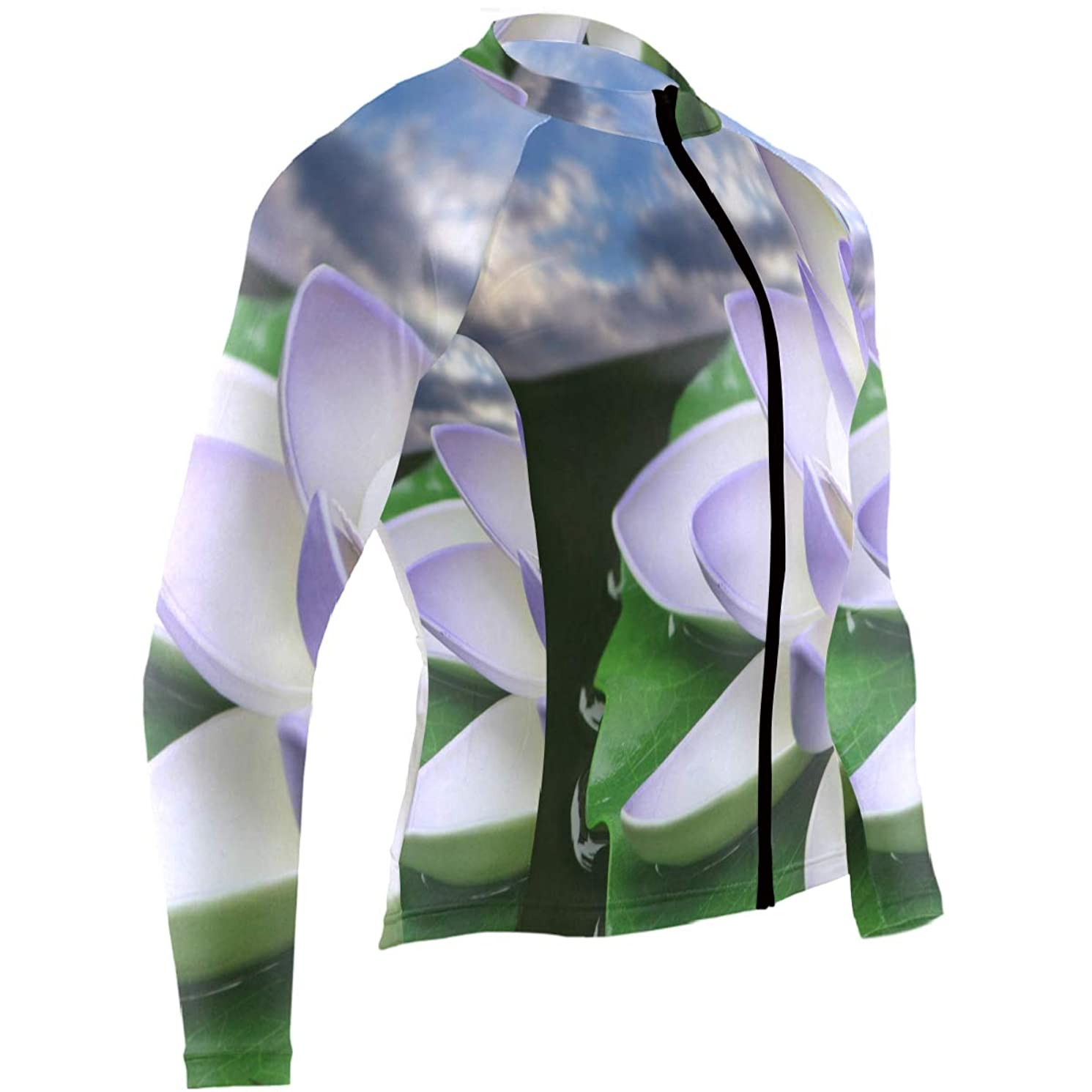 Ladninag Lotus Flower Wallpapers Mens Cycling Jersey Jacket Long Sleeve Outdoor Bike Apparel Outfit