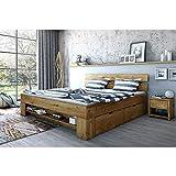 moebelstore24 Futonbett Schlafzimmerbett Saha Wildeiche Massiv geölt 140 x 200 cm inkl. 4 Bettkästen