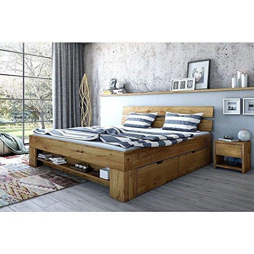 moebelstore24 Futonbett Schlafzimmerbett 180 x 200 inkl. 4 Schubladen Wildeiche-massiv geölt Sara