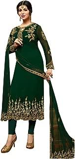 Green Party Wear Dress women Straight Salwar Kameez Custom to Measure pakistani Indian Ethnic wear EID 2662