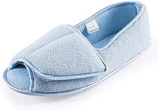Git-up Diabetic Slippers for Women Memory Foam Arthritis Edema Adjustable Open Toe Swollen Feet House Shoes