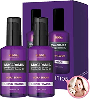 Kundal Pure Natural System, Macadamia Ultra Hair Serum, Baby Powder Scent, Only 7 Second, 100ml / 3.5 Fl Oz × 2P Set