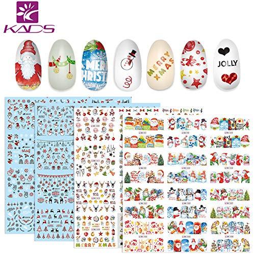 KADS 4 Feuilles Nail Art Sticker Autocollant à Ongles bricolage Christmas Noël Pattern(Set de Noël 1)