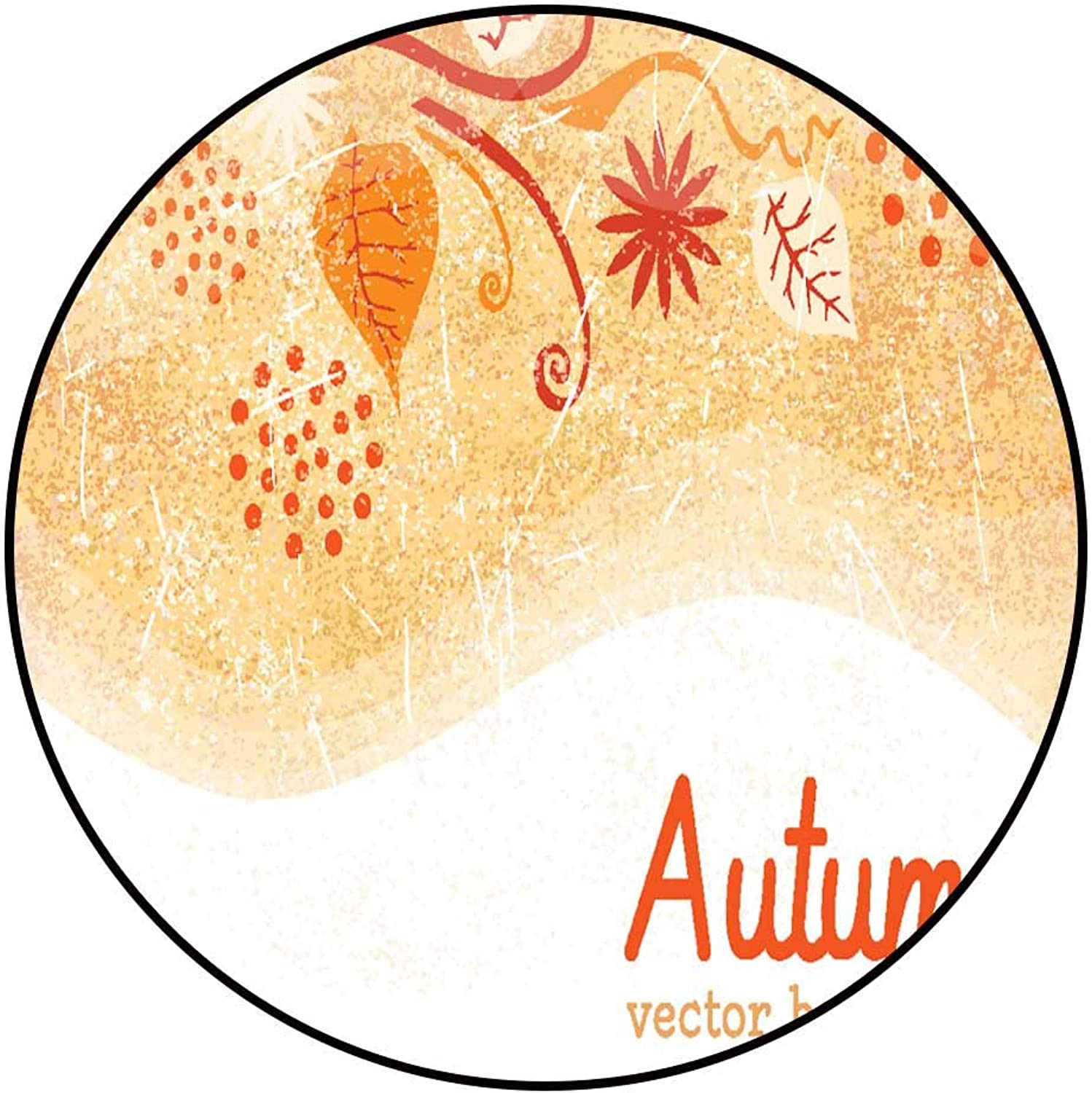Hua Wu Chou Round Exercise matround BBQ Grill mat D4'2 1.3m Background of Stylized Autumn Leaves for Greeting cards4