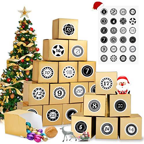 EKKONG 2020 Adventskalender zum Befüllen, 24 Adventskalender Schachteln mit Zahlenaufklebern, DIY Kisten für Weihnachten Basteln und Verzieren Weihnachts-Geschenk Boxen Weihnachtskalender Bastelset