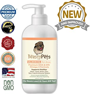 Beasty Pets Salmon Oil for Dogs Non GMO Omega 3 Fish Oil w/EPA & DHA Canine Coat, Joint, Heart & Eye Care Enriched w/Non-Soy Vitamin E