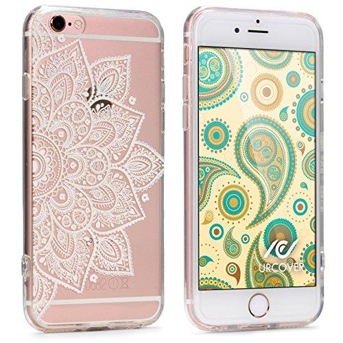 Urcover Custodia Protettiva Morbida Apple iPhone 6 / 6s   Back Cover in Silicone TPU Trasparente con Disegno Bianco Mandala   Case Ultra-Slim Flessibile da Donna