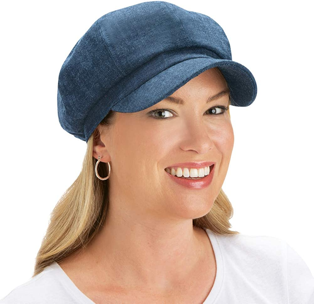 Collections Etc Brimmed Cotton Newsboy Hat with Elastic Back TAN