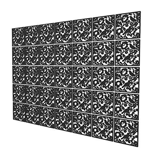Panel Divisor de 35 Piezas - 202x283cm - Negro Paneles Separadores Pájaro Separadores Ambientes Cocina para Hotel De Oficina En Casa