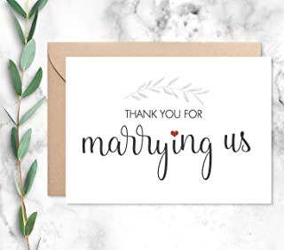 Thank You for Marrying Us Card with Envelope, Wedding Officiant Card, Choose from 2 Color Choices
