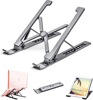 Adjustable Laptop Stand for Desk, Portable Laptop Stand, Aluminum Ventilated Computer Laptop Holder Riser for MacBook air pro Accessories, Ipad Tablet Stand,7 Height,10-17'' Notebook and Tablet-Gray