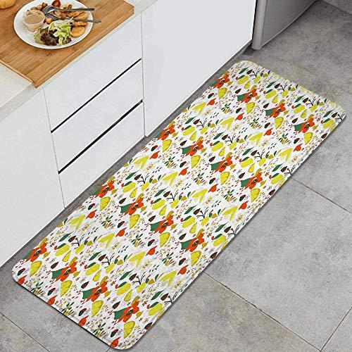 VAMIX Alfombra de Cocina,Estampado Floral de Hojas de Limones de Primavera,Lavable Antideslizante Alfombrilla de Goma Alfombra de Baño Alfombrillas Cocina