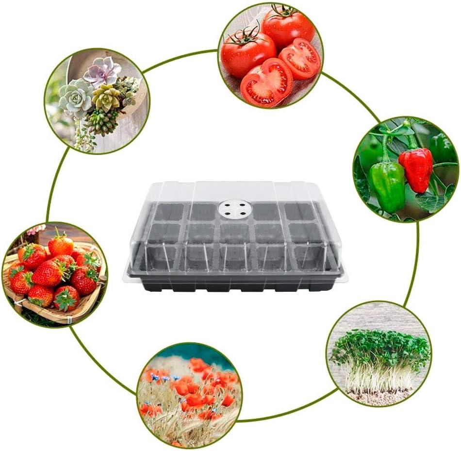 Bac pour Semi avec Couvercle Respirant Noir, 15 Cellules 5PCS Bac /à Semis int/érieur Mini Serre Jardin 15 Cellules Bac de semis Plateaux /à Semis de Culture Hydratant et Pr/éservant Chaleur