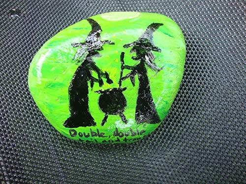 VickyHopeArt - Piedra Pintada a Mano para Halloween, jardín, Halloween, señal, Trucha o...