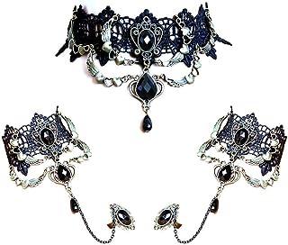 NAOR Elegant Vintage Princess Black Lace Gothic Statement Necklace Bracelet Victorian Lolita Choker Pendant Vampire Chain