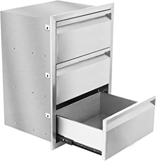 Nurxiovo Outdoor Kitchen Drawer Stainless Steel 30x22.5x18.5 Inch with No Handle, Triple Drawer, 3 Tiers, Chrome, Used for BBQ