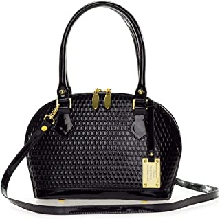 8661d743758c3 AURA Italian Made Black Patent Embossed Leather Small Structured Tote  Handbag