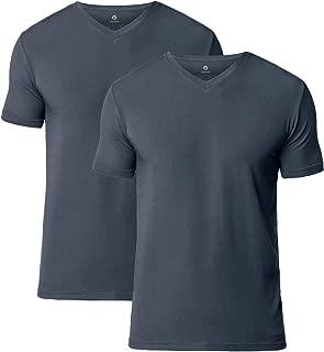 Men's Short Sleeve Modal Undershirts V-Neck T-Shirts Solid Plain Tees 2 Pack M08