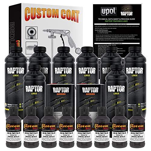 U-Pol Raptor Charcoal Metallic Urethane Spray-On Truck Bed Liner Kit and Custom Coat Spray Gun with Regulator, 8 Liters