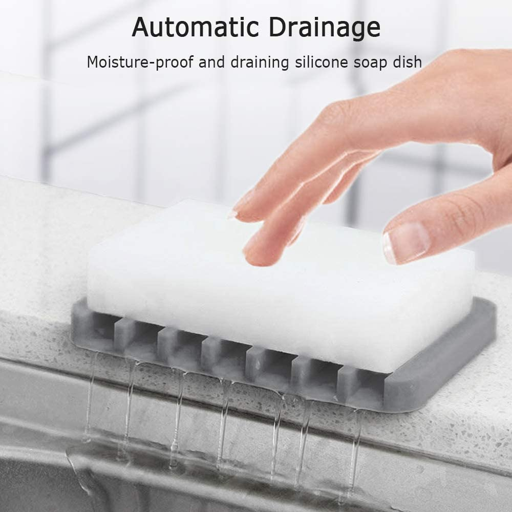 White Silicone Soap Saver Provides You with Healthy Protection. 2Pcs Soap Dish for Shower ChuangFan White Soap Holder The Bar Soap Holder is Suitable for Bathroom Kitchen Bathtub