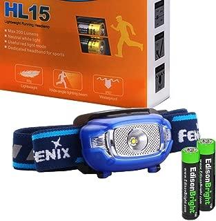 EdisonBright Fenix HL15 200 Lumen light weight CREE LED running Headlamp (Blue color body) with 2 X AAA alkaline battery bundle