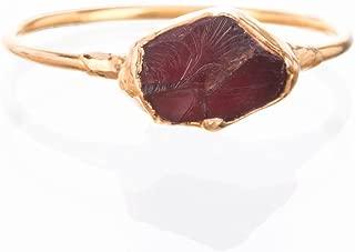 Size 8 Raw Garnet Ring, Yellow Gold, January Birthstone