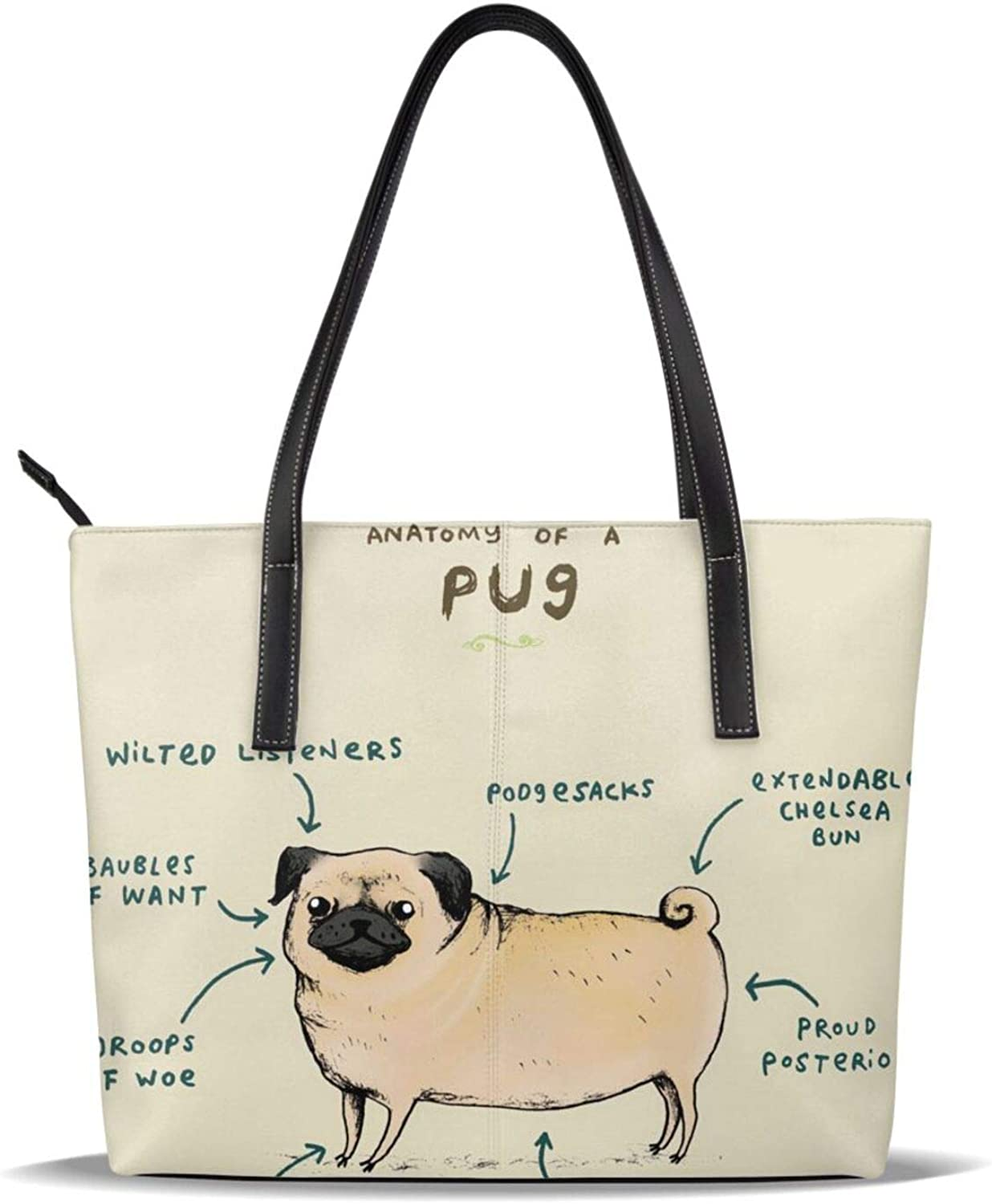 Funny Cute Pet Pug Dog Diagram outlet Leather Printed Pu Casual Sale item Pattern