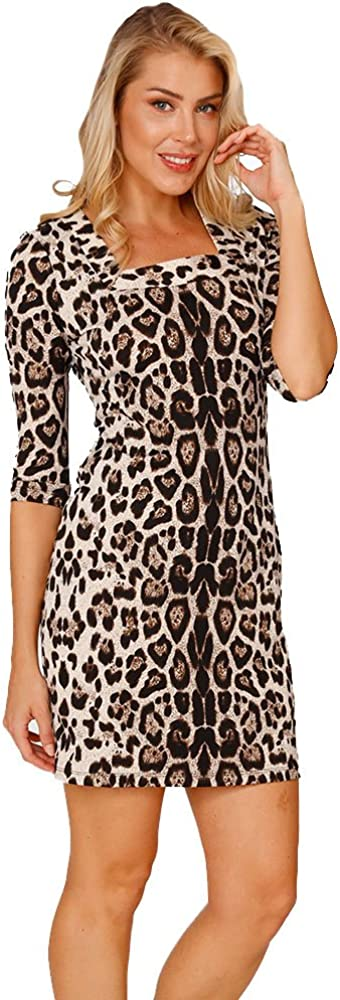 INGEAR Women's Sexy Mid Sleeve Leopard Print Square Neckline Short/Mini Formal Cocktail Party Midi Dress