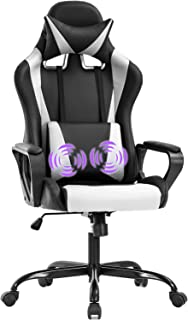Gaming Chair Massage Office Chair Racing Chair with Lumbar Support Arms Headrest High Back PU Leather Ergonomic Desk Chair Rolling Swivel Adjustable PC Computer Chair for Women Adults Girls(White)