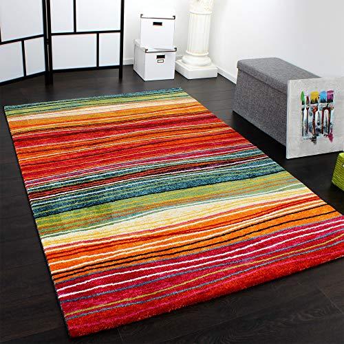 Paco Home Teppich Modern Splash Designer Teppich Bunt Streifen Model Neu OVP, Grösse:80x150 cm