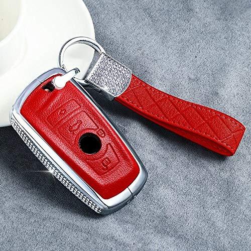 YJLOVK Para Lujo Diamond Car Remote Key Case Key Cover para BMW 520525 f30 f10 F18 118i 320i 1 3 5 7Series X3 X4 M3 M4 M5 E34 E90 E60 E36, 4 botón Rojo 02
