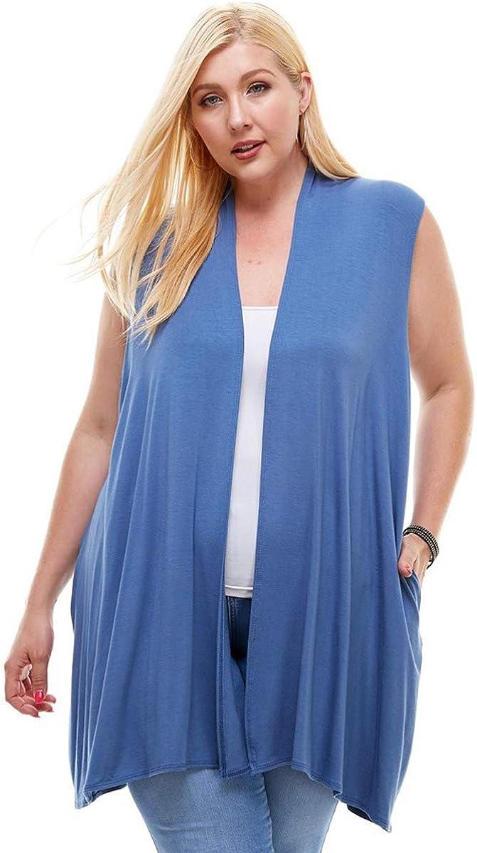 Pastel by Vivienne Women's Sleeveless Cardigan in Plus Size