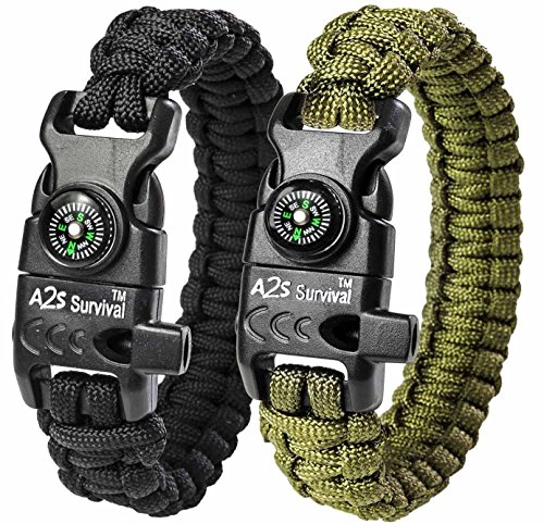 "A2S Protection Paracord Bracelet K2-Peak – Survival Gear Kit with Embedded Compass, Fire Starter, Emergency Knife & Whistle (Black/Green 8"")"