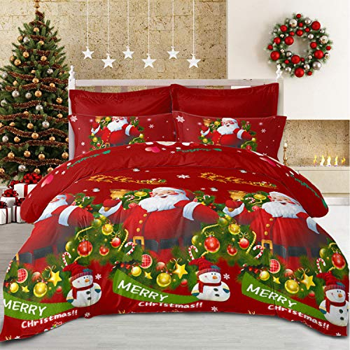 "Christmas Duvet Cover Full/Queen Size Santa Claus Snowman Bedding Set New Year Holiday Quilt Cover (Green Red, Queen(90""x 90""))"