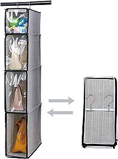 Syeeiex Handbag Purse Organizer with Clear Dust-Proof Cover Hanging Closet Storage System for Lady Wallet Handbag Storage 1Pcs,Grey
