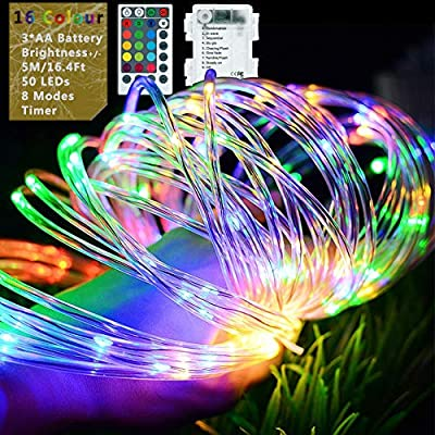 Battery Operated LED Fairy Rope Lights, 5M/16.9Ft 50 LEDs Clear Tube Copper Wire String Lights with Remote Timer [IP68+] Waterproof 16 Colour & 8 Light Modes Changing for Bedroom Christmas Tree Garden