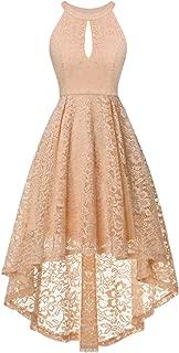 Women's Halter Hi-Lo Floral Lace Cocktail Party Bridesmaid Dress