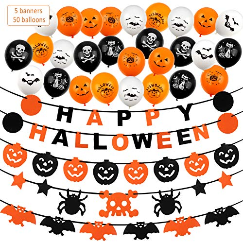 Chudian Halloween Dekoration Set, Halloween Spinne Girlande Kürbis Fledermaus und 50 Stück Halloween Luftballons Halloweendekoration Geist Bat für Party Garten Karneval (Weiße Orange & Schwarz)