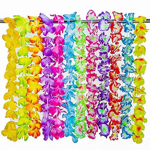 LTING 36 collares de Leis de flores hawaianas, collares de flores de Luau Leis para fiestas tropicales, barra de noche hawaiana, decoración de fiesta de playa